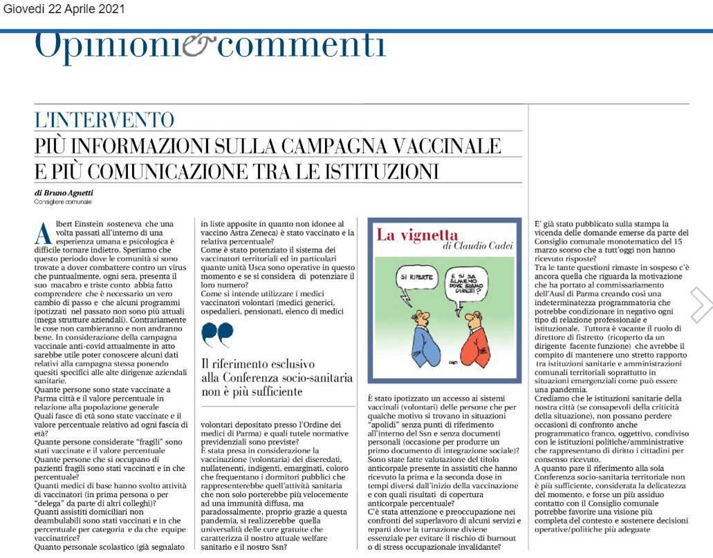 """Articolo Gazzetta di Parma """"Più informazioni sulla campagna vaccinale e più comunicazione tra le istituzioni"""""""